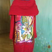 Одежда ручной работы. Ярмарка Мастеров - ручная работа Отражения Платье вязаное с декором батик + валяние. Handmade.