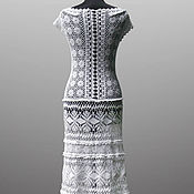 Одежда handmade. Livemaster - original item Crochet dress Daisy. White maxi lace wedding or evening dress. Handmade.