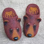 Обувь ручной работы. Ярмарка Мастеров - ручная работа Мишка косолапый. Валяные шерстяные тапки-шлёпки.. Handmade.