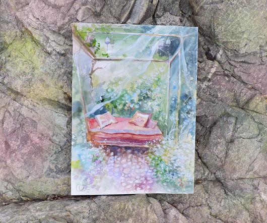 Пейзаж ручной работы. Ярмарка Мастеров - ручная работа. Купить Акварельный сад. Handmade. Акварель, тёмно-бирюзовый, картины акварелью