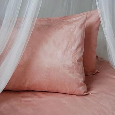 Для дома и интерьера ручной работы. Ярмарка Мастеров - ручная работа Бежево-розовый жаккардовый комплект из сатина. Handmade.