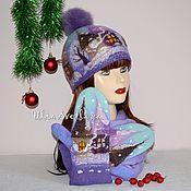 Аксессуары handmade. Livemaster - original item Felted kit of beanie and mittens Winter`s (Northern lights). Handmade.