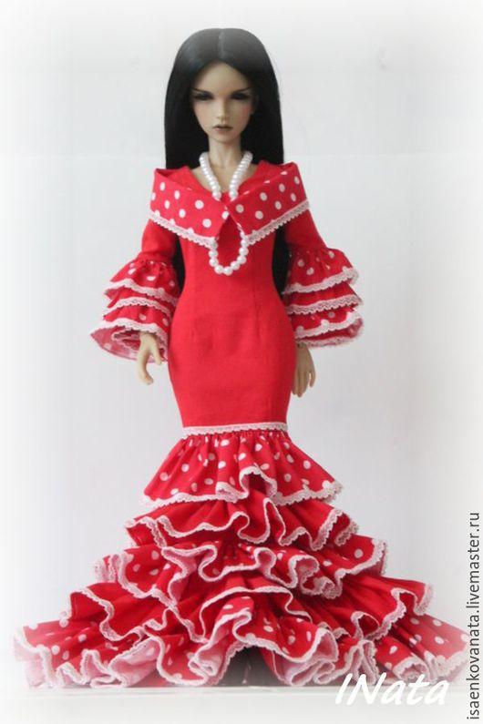"""Одежда для кукол ручной работы. Ярмарка Мастеров - ручная работа. Купить Платье """"Фламенко"""" для JID Iplehouse. Handmade. Ярко-красный"""