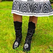 """Обувь ручной работы. Ярмарка Мастеров - ручная работа Черные кожаные мокасины """"Indian Summer"""". Handmade."""