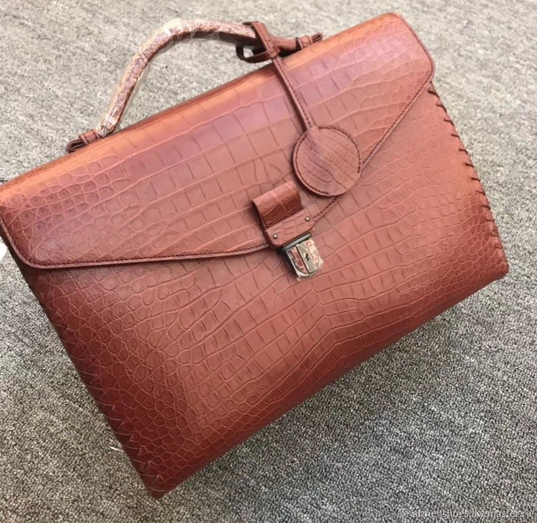 Briefcase men's classic, crocodile leather, in Burgundy, Brief case, Tosno,  Фото №1