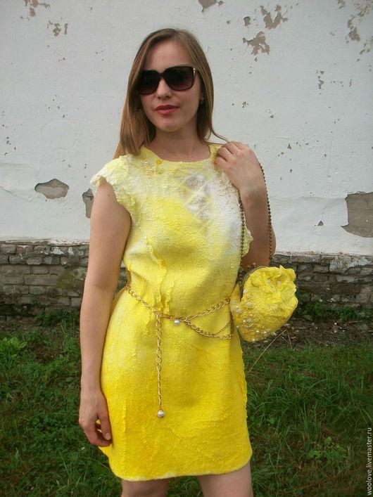 """Платья ручной работы. Ярмарка Мастеров - ручная работа. Купить валяное платье, валяная сумочка """" Колыбель солнца"""". Handmade."""