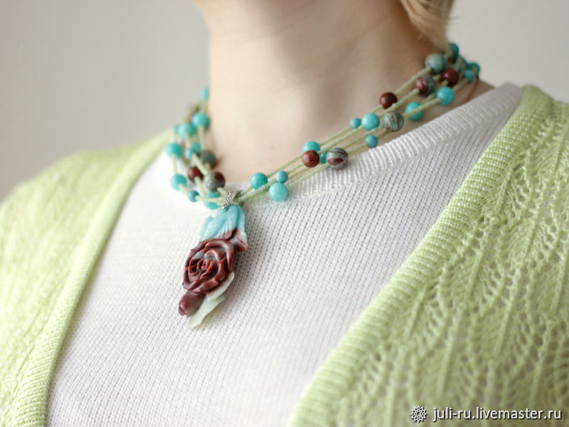 Air necklace with amazonite and a carved pendant Summer rose, Necklace, Chelyabinsk,  Фото №1
