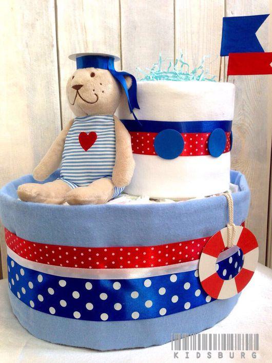"""Для новорожденных, ручной работы. Ярмарка Мастеров - ручная работа. Купить Торт из памперсов """"Моряк"""". Handmade. Торт из подгузников"""