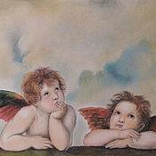 Картины и панно handmade. Livemaster - original item Painting with angels - Angels of the Sistine Madonna-pastel painting. Handmade.