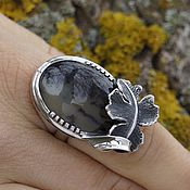 """Кольца ручной работы. Ярмарка Мастеров - ручная работа серебряное кольцо ручной работы с моховым агатом """"осень"""". Handmade."""