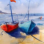 Картины и панно handmade. Livemaster - original item Watercolor Seascape with boats (turquoise orange sand). Handmade.