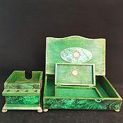 Канцелярские товары handmade. Livemaster - original item Recruitment for office ,malachite!, office set. Handmade.