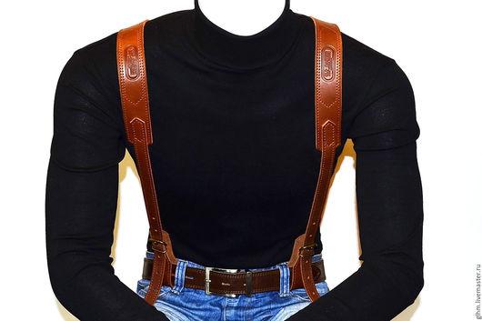 Оружие ручной работы. Ярмарка Мастеров - ручная работа. Купить Подтяжки мужские кожаные. Handmade. Коричневый, натуральная кожа