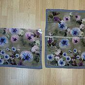 Ткани ручной работы. Ярмарка Мастеров - ручная работа 10136 два лоскута платочка 65 шелк крепдешин. Handmade.