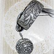 Украшения handmade. Livemaster - original item Grey bracelet pendant wood Lace. 3, dark gray black. Handmade.