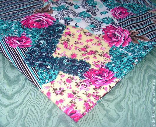 Шитье ручной работы. Ярмарка Мастеров - ручная работа. Купить Кулирка Пэчворк с  розами. Handmade. Разноцветный, розовый, трикотаж, ткани