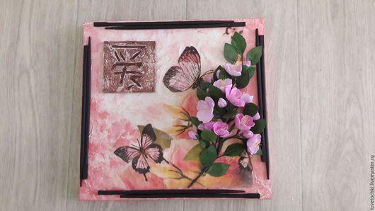 """Картины цветов ручной работы. Ярмарка Мастеров - ручная работа. Купить Картина """"Сакура японская"""". Handmade. Розовый, фоамиран, двунитка"""