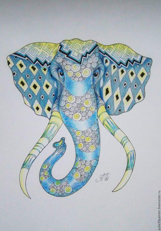 Животные ручной работы. Ярмарка Мастеров - ручная работа. Купить Слон в стиле Зентангл, дудлин, зенарт. Handmade. Синий, зенарт
