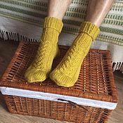 Аксессуары ручной работы. Ярмарка Мастеров - ручная работа Мужские носки сложного желтого цвета. Handmade.