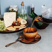 Посуда handmade. Livemaster - original item A couple of tea Cedar (Mug saucer spoon) from the Siberian Cedar #NC16. Handmade.