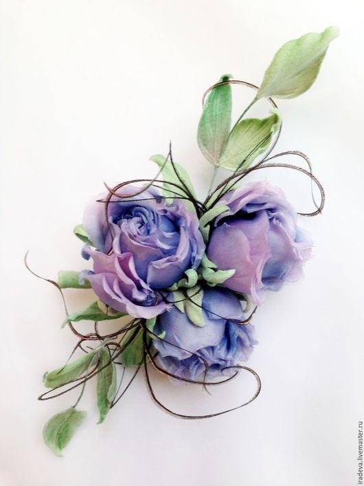 Цветы ручной работы. Ярмарка Мастеров - ручная работа. Купить Светло - лиловые розочки. Handmade. Бледно-сиреневый, шелковые цветы