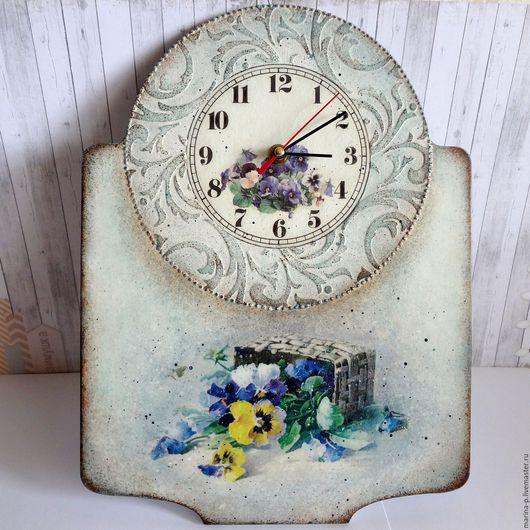 """Часы для дома ручной работы. Ярмарка Мастеров - ручная работа. Купить Часы """" Анютины глазки """". Handmade. Голубой"""