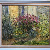 Картины и панно handmade. Livemaster - original item Garden sketch. Oil on canvas on cardboard, frame. Handmade.