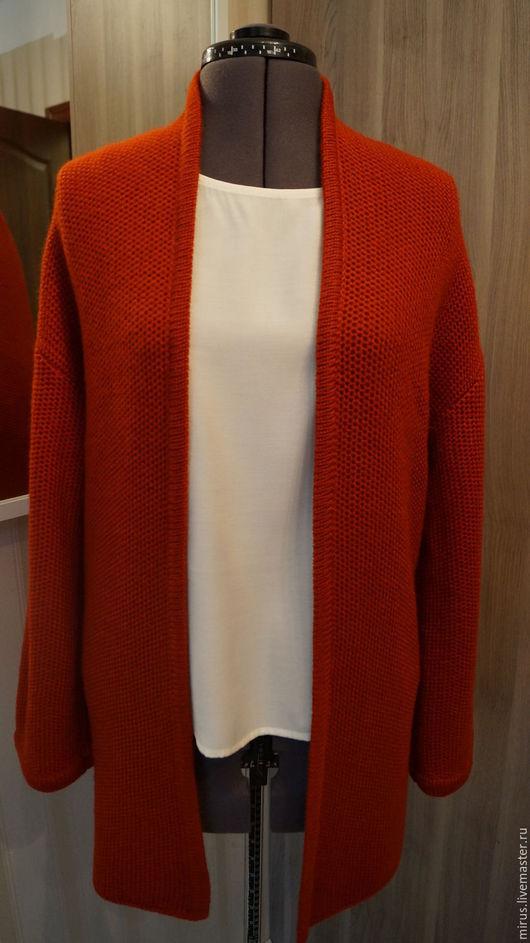 """Кофты и свитера ручной работы. Ярмарка Мастеров - ручная работа. Купить Кардиган """"Терракот  соты""""   с длинным рукавом. Handmade. Рыжий"""