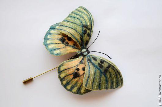 Броши ручной работы. Ярмарка Мастеров - ручная работа. Купить Бабочка3. Handmade. Зеленый, брошь из шерсти, juli world