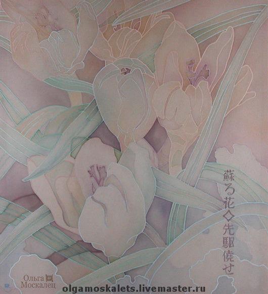 Картины цветов ручной работы. Ярмарка Мастеров - ручная работа. Купить Первые крокусы. Handmade. Батик, холодный батик, весна