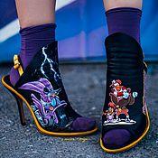 Обувь ручной работы handmade. Livemaster - original item Disney Print Shoes. Shoe Painting Black Raincoat. Handmade.
