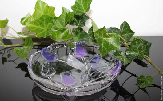 """Винтажная посуда. Ярмарка Мастеров - ручная работа. Купить Тарелка """"Тюльпаны"""". Handmade. Фиолетовый, тарелка из стекла, тарелка для интерьера, стекло"""