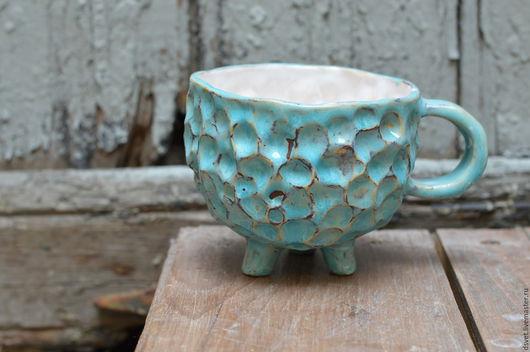 Кружки и чашки ручной работы. Ярмарка Мастеров - ручная работа. Купить Кружка-барашек. Handmade. Бирюзовый, керамическая посуда, глина