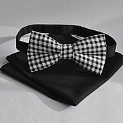 Аксессуары handmade. Livemaster - original item Tie black plaid Vichy black shawl into a jacket pocket. Handmade.
