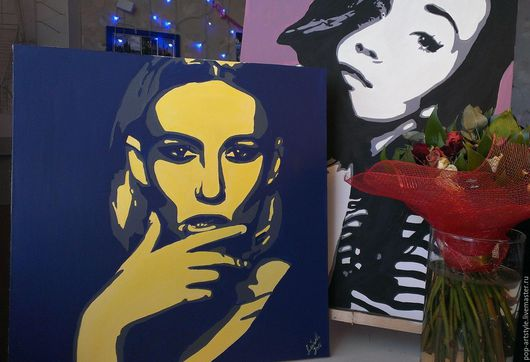 Люди, ручной работы. Ярмарка Мастеров - ручная работа. Купить Портрет в стиле POP-ART. Handmade. Комбинированный