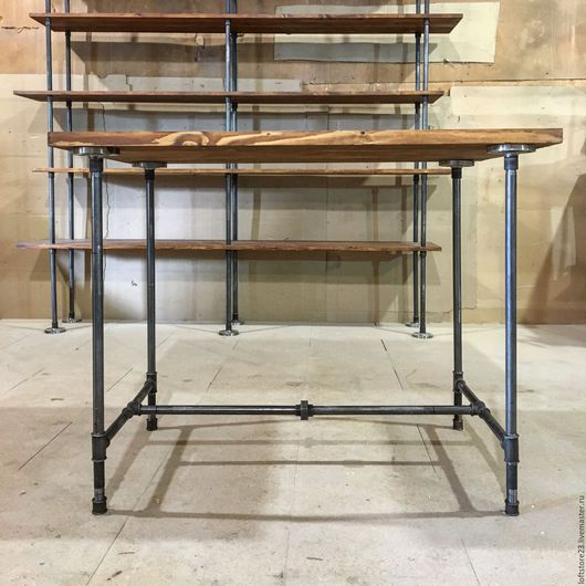 Мебель ручной работы. Ярмарка Мастеров - ручная работа. Купить Стол WEST SIDE. Handmade. Коричневый, водопроводные трубы, loft
