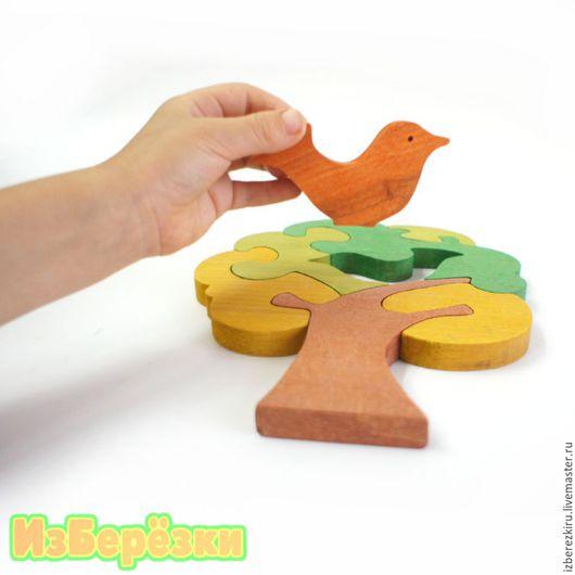 """Развивающие игрушки ручной работы. Ярмарка Мастеров - ручная работа. Купить Пазл """"Дерево с птичкой""""  (крашеный). Handmade. Дерево, для детей"""