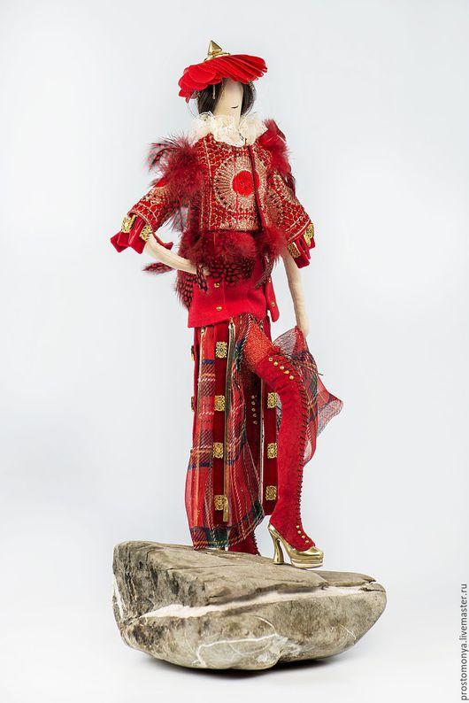 """Коллекционные куклы ручной работы. Ярмарка Мастеров - ручная работа. Купить Моня """"Азиатский цветок"""". Handmade. Ярко-красный"""