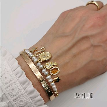 Украшения ручной работы. Ярмарка Мастеров - ручная работа Жемчужный браслет в стиле Tous. Handmade.