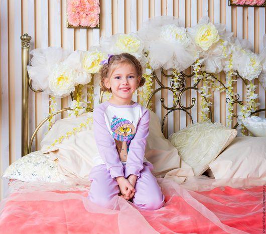 """Одежда для девочек, ручной работы. Ярмарка Мастеров - ручная работа. Купить Домашний костюм """"Сова"""" сиреневый. Handmade. Комбинированный, сон"""
