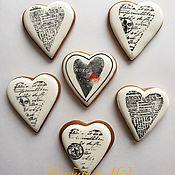 Пряники ручной работы. Ярмарка Мастеров - ручная работа Имбирные пряники Сердце черно-белое. Handmade.