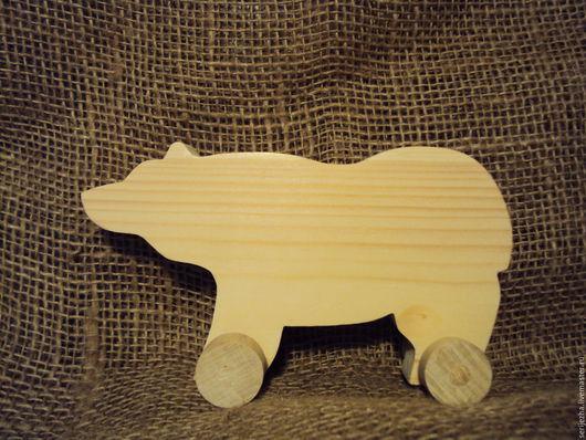 Медведь-каталка(средний), деревянная игрушка ручной работы