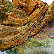 Аксессуары ручной работы. Ярмарка Мастеров - ручная работа шелковый женский шарф рыже коричнево зелёный натуральный шелк. Handmade.