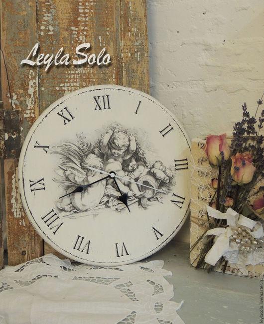 Часы настенные в технике декупаж из дерева.Часы Ангелы для Вашей гостиной , кухни , детской спальни. Прекрасное украшение.