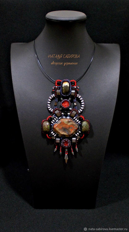 'A journey to Mars' pendant with Jasper and hematite, Pendants, Mozhga,  Фото №1