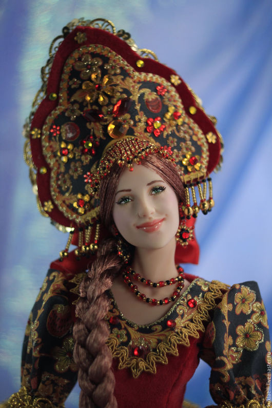 Коллекционные куклы ручной работы. Ярмарка Мастеров - ручная работа. Купить Куколка Аленушка (хохлома). Handmade. Ярко-красный, синтепух
