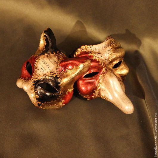 Интерьерные  маски ручной работы. Ярмарка Мастеров - ручная работа. Купить Маски венецианские Скарамучча и Гатто Классико (мини, пара). Handmade.