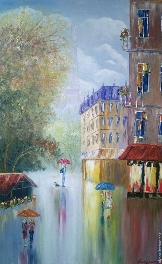 Город ручной работы. Ярмарка Мастеров - ручная работа. Купить Осенний город 50х70. Handmade. Разноцветный, картина маслом