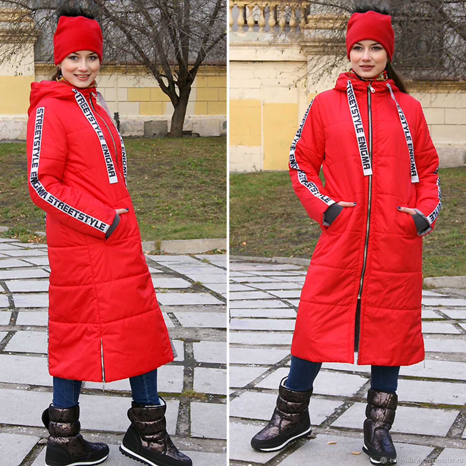 Long red women's jacket, quilted red coat with hood - Winter Coat, Outerwear Jackets, Novosibirsk,  Фото №1