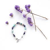 Украшения handmade. Livemaster - original item Bracelet with turquoise, lapis lazuli, hematite and agate. Handmade.